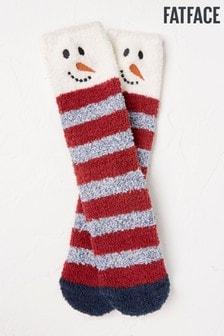 FatFace Kuschelige Schneemann-Socken, Rot