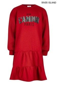 River Island Red Peplum Hem Sweater Dress