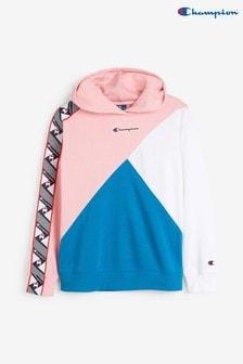 Bluza z kapturem w bloki kolorów z niewielkim napisem i logo Champion