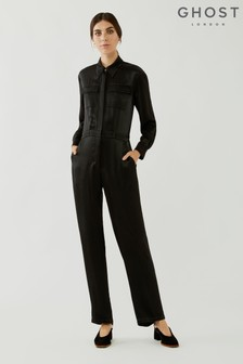 Ghost Janine Wide Leg Crepe Jumpsuit