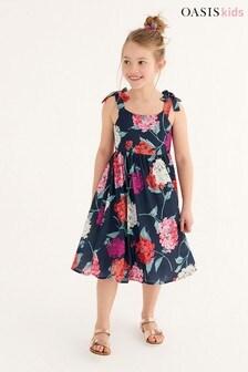 Oasis Geblümtes Kleid mit gebundenen Trägern
