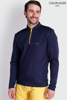 חולצה כחולה עם חצי רוכסן דגם Braidשל Calvin Klein Golf