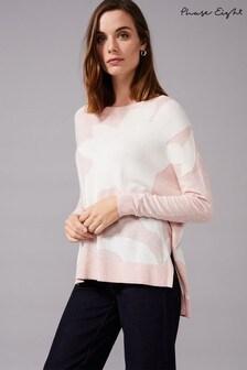 סוודר סרוג של Phase Eight דגם Iana בדוגמת אינטרסיה בצבע ורוד
