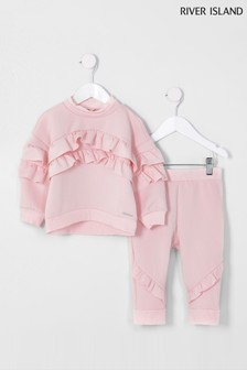 River Island Pink Light Frill Scuba Jogger Set