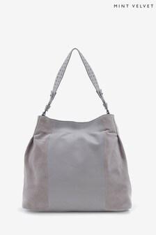Mint Velvet Jane Grey Stud Shoulder Bag