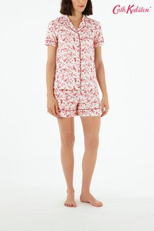 Set pijama scurtă cu păsări Cath Kidston® British Birds albă