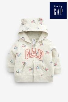 Gap Floral Print  Zip Through Hoody With Ears