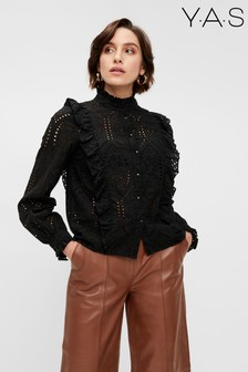 Y.A.S Black Broderie Anglaise Ruffle Arianne Blouse