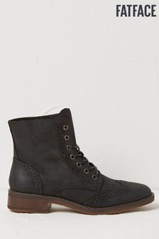 FatFace Black Camilla Lace-Up Boots