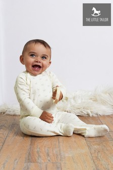 The Little Tailor Cream Jersey Print Rocking Horse Sleepsuit