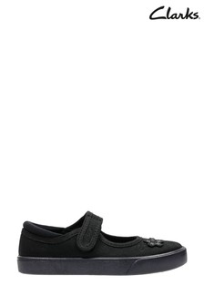 Clarks Girls Black Hopper Go Plimsole