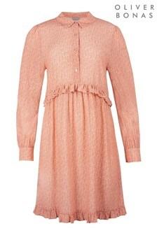 Oliver Bonas Pink Petal Floral Print Mini Shirt Dress