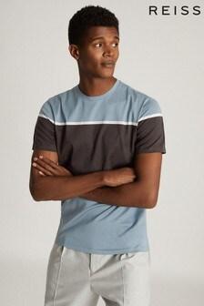 Reiss blauw Mercerised Colourblock Airforce T-shirt met kleurvlakken