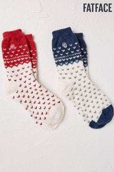 Lot de deux paires de chaussettes FatFace Fluvia imprimé jacquard