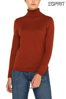 סוודר כותנה עם צווארון מתגלגל של Esprit דגם Knitted בצבע חלודה