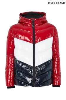 River Island Red Colourblock Padded Jacket