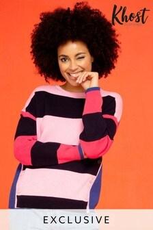 Khost Pink Milano Stripe Knit Jumper