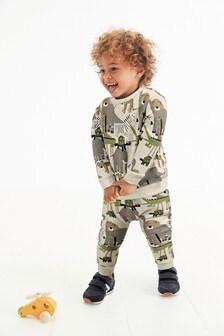 Conjunto de pantalón de chándal y sudadera con cuello redondo y estampado integral de safari (3 meses-7 años)