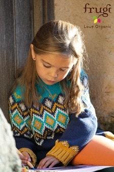 Frugi - Blauwe grofgebreidebiologisch katoenen trui met fairisle-patroon