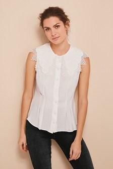 Блузка без рукавов с воротником