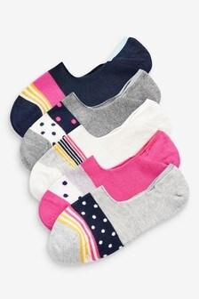 Unsichtbare Socken im 5er-Pack mit Regenbogendesign