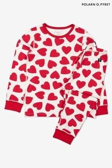 بيجاما مطبوعة قلوب خامة عضوية GOTS أحمر من Polarn O. Pyret