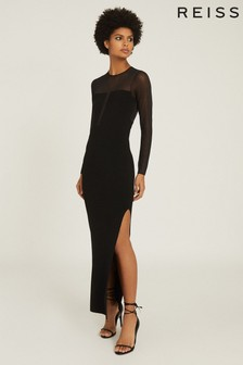 Reiss Black Sabrina Maxi Dress With Semi Sheer Panelling