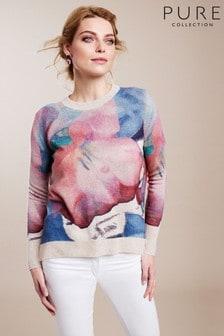 Pure Collection Blue Cashmere Curved Hem Boyfriend Sweater