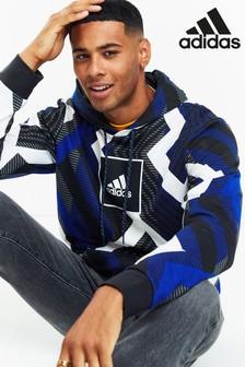 adidas Durchgängig bedrucktes Kapuzensweatshirt, Blau