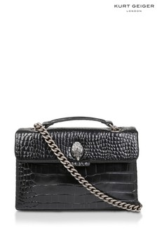 Kurt Geiger London Black Croc Kensington Leather Bag