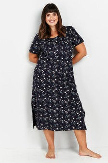 Evans Curve Navy Star Long Nightdress
