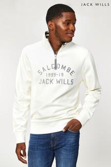 Jack Wills ホワイト JW Amersham ハーフジップ スウェットシャツ