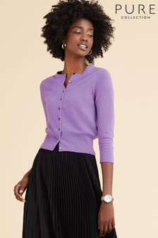 Pure Collection Purple Cashmere Cropped Cardigan