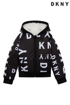DKNY Black/White All Over Logo Reversible Jacket