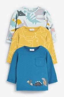 מארז3חולצות טי בהדפס דינוזאורים (0 חודשים עד גיל 2)