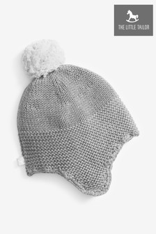 The Little Tailor Grey Baby Trapper Hat With Pompom