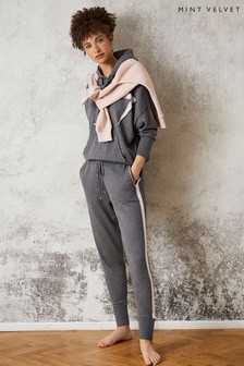 Mint Velvet Grey Side Stripe Knit Joggers