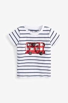 Tričko s krátkymi rukávmi a flitrovou aplikáciou autobusu (9 mes. – 7 rok.)
