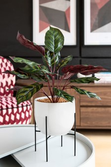 Artificial Plant White Pot on Stand