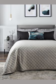 Silver Grey Hamilton Velvet Quilted Bedspread