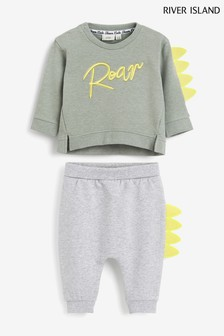 River Island T-Shirt-Set mit Roar Dinosaurier, helles Kaki