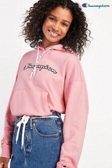 Champion sweatshirt met ronde hals, groot letterlogo en capuchon