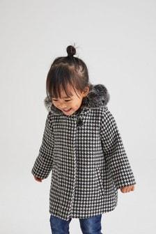 Kabát s kapucňou lemovanou umelou kožušinou (3 mes. – 7 rok.)