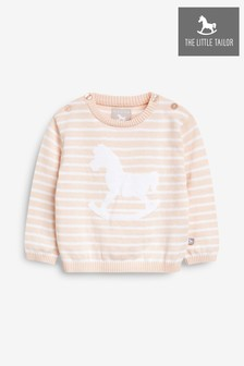 The Little Tailor Pink Stripey Baby Knit Jumper