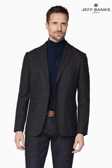 Jeff Banks Brown Men's Tailored Fit Check Blazer