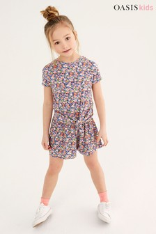 Oasis Ditsy Tie Front Short Set