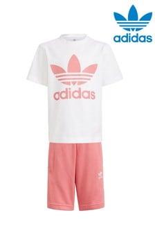 adidas Originals Little Kids White Pink T-Shirt And Shorts Set