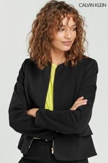 Černá bunda na zip s volánovým lemem Calvin Klein