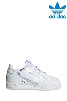 נעלי ספורט לפעוטות של adidas Originals דגםContinental80 בצבע לבן עם עיטור מבריק צבעוני