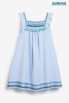 Sunuva Blue Embroidered Flutter Sleeve Dress